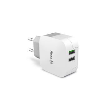 Cestovní nabíječka CELLY TURBO s 2 x USB výstupem, 3,4 A, bílá